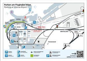 mapa letiště Vídeň, mapa letiště VIE, parkování letiště Vídeň