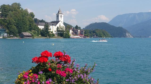 jezero Wofgangsee Rakousko koupání